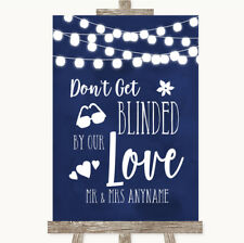 Wedding Sign Navy Blue Watercolour Lights Don't Be Blinded Sunglasses