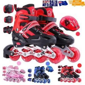 Kids Rollerblades Inline Skates Blades Lights Up Roller Shoes Adjustable Sizes
