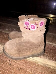 BABY SMART Slouch Cowboy Girls LEATHER SUEDE BOOTS TODDLER SIZE 2 Worn Once ❤
