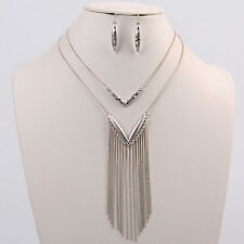 Silver V Tassel Necklace Set