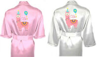 Personalised Girl's Dressing Gown Robe in Satin Nightwear Summer PJ's Llama