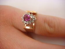 14K YELLOW GOLD RUBY & DIAMONDS CATHEDRAL SETTING VINTAGE LADIES RING 4.2 GRAMS.