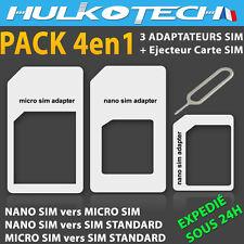 ADAPTATEURS PUCE CARTE NANO SIM / MICRO SIM / SIM STANDARD POUR IPHONE 5 + 1 CLE