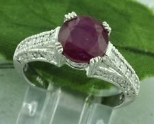 14k Solid White Gold Natural Diamond & round Shape Ruby Ring 3.23 ct