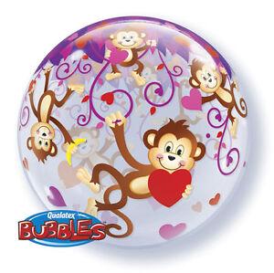"I LOVE YOU BALLOON 22"" LOVE MONKEYS SEE THRU BUBBLE HELIUM QUALATEX BALLOON"