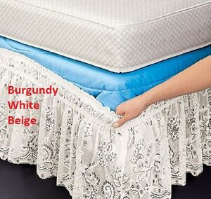 "Lace Wrap Around Bed Dust Ruffle White Beige Burgundy 14"" Drop Wrinkle Free NEW"