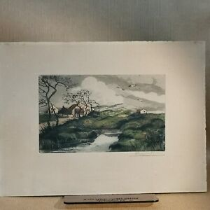 Signed vintage AQUATINT etching: windswept landscape, poss Ireland or Hebrides