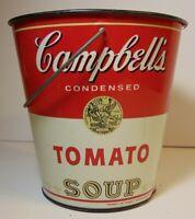 VINTAGE 1970'S CHEINCO METAL TIN LITHO PAIL CAMPBELL'S TOMATO SOUP ADVERTISING