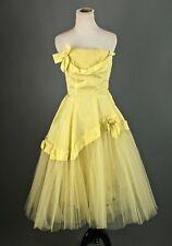 Vtg Women's 50s Strapless Yellow Tulle Formal Dress Sz S 1950s