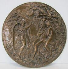 Old Bronze ANGEL ADAM EVE GARDEN of EDEN High Relief Decorative Arts Plaque