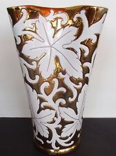 Vtg Ceramic Porcelain Flower Vase Italy #1145 Gold Leaf Vine Design White 10""