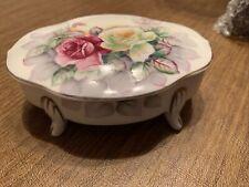 Footed Vintage Trinket Box Pink & White Floral Gold Trim #7578 6�x4�