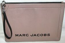 New Marc Jacobs Textured Pink Rose Large Box Pouch Make Up Travel Wallet Tote