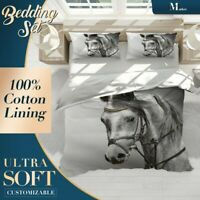 Horse Black and White Quilt Cover Sets Animal Single Double Queen King Size