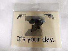 GUN DESIGN BIRTHDAY CARDS 4 count NEW SIGHTS BELATED, GARAND, REVOLVER & MORE