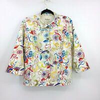 Bold Color Norm Thompson Blazer Jacket Women's Size Large Button Front Cotton