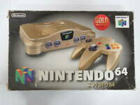 NINTENDO 64 gold Console set N64 works controller Cable Japanese with Box