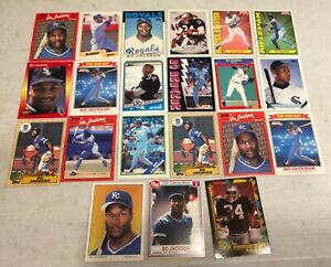 BO JACKSON ROOKIE FOOTBALL & BASEBALL INSERT LOT OF 21 DIFFERENT CARDS