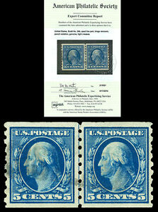 Scott 396 1913 5c Washington Perforated 8½ Coil Line Pair Used VF with APS CERT!