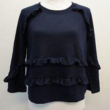 A|X Armani Exchange Womens Knit Top Crop Ruffled Sweatshirt Navy Blue S $80