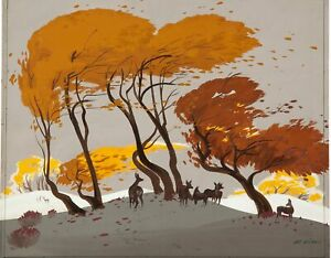 Bambi Concept Painting by Art Riley Signed Walt Disney 1942
