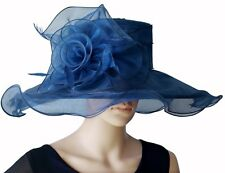 Elegante Cappello da donna BLU NAVY blu scuro Organza cappello