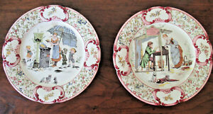 2 Antique Sarreguemines French Faience Story Plates Froment Richard Children Cat