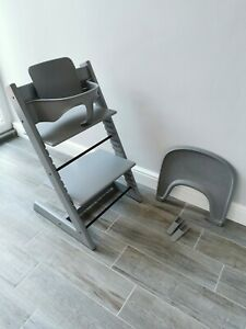 Stokke Tripp Trapp high chair with baby seat and tray - grey