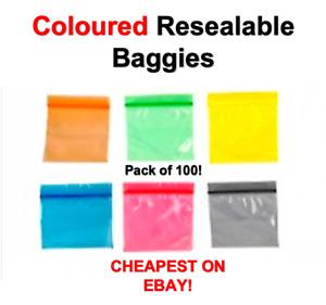 100x Plain Coloured Resealable Plastic Grip Seal Ziplock Baggies Bags Baggy UK!