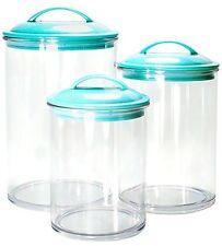 Calypso Basics 3pc Acrylic Canister Set Turquoise Lids Kitchen Storage Organizat