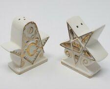 Rare Vtg Porcelain Masonic Salt & Pepper Shakers Kistner Chicago Japan Gold Gild