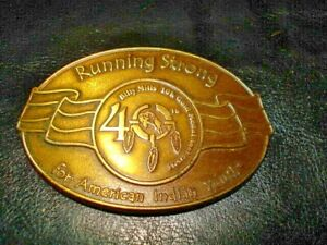 Billy Mills Running Strong  10K Gold Medal 40th Anniversary Indian Belt Buckle