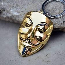 V for Vendetta Keychain Guy Fawkes Mask Gold Pendant Jewelry Keyrings
