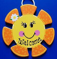 SUN WELCOME SIGN Wall Door Hanger Hanging Plaque Summer Porch Outdoor Decor