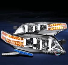 FOR 2004-2008 ACURA TL LED BAR PROJECTOR CHROME HEADLIGHT LAMP W/BUMPER BLUE DRL