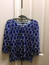 Talbots Blue White Chain Link Printed 3/4 Sleeve Cardigan Sweater Size P