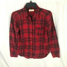 Hollister Mens Flannel Shirt Red Plaid XS Extra Small Button down Long Sleeve