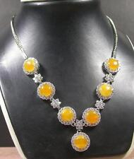 Gold Plate Yellow JADE Cabochon Bead Beads Necklace Diamond (Imitation 267222 US