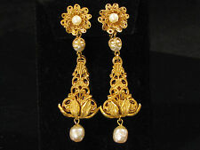 MIRIAM HASKELL SIGNED EARRINGS - LONG DANGLE BAROQUE PEARL & RUSSIAN GOLD GILT