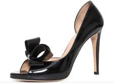 Valentino Garavani Couture Bow D'Orsay Patent Leather Pump Black Women Sz40 5692