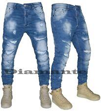 Jeans uomo Denim Strappati Sfilacciati pantaloni elasticizzati nuovo 6570