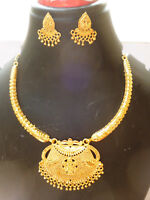 22K  Indian  Gold Plated Beautiful Designer Necklace Earrings Bridal Set AAE