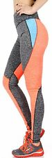 Yoga Dry-Fit Pants Workout Print Leggings Heather colorblock N.Orange Small