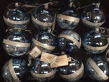 12 x grand soir Minuit Bleu & Argent Arbre de Noël Baubles Décorations 8 cm