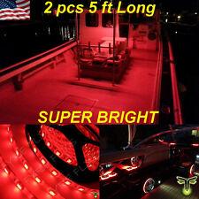"2x 5' (60"") Red LED Boat Deck Light Waterproof Bow Trailer Fishing Pontoon 12v"