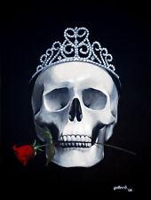 Mortal Beauty by pollard Gothic Skull Tiara rose 12x16 signed dark art print