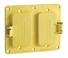 Leviton 3251W-Y Yellow Two Gang, 2 Decora Flip Lids for use with Rubber Box