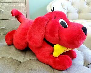 LIFE SIZE 2000 Clifford Big Red Dog Stuffed Plush Barks Sound Bone Scholastic