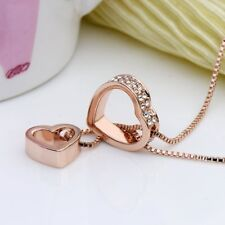 Anniversary Gift Pendant Necklace Women Rose Gold Plated Dual Heart Christmas