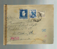 1943 Malaga Spain Dual Censored Cover to Grittau Germany